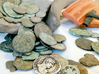 Roman coins and pottery