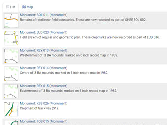 screenshot of the database entries for Suffolk Historic Environment Record