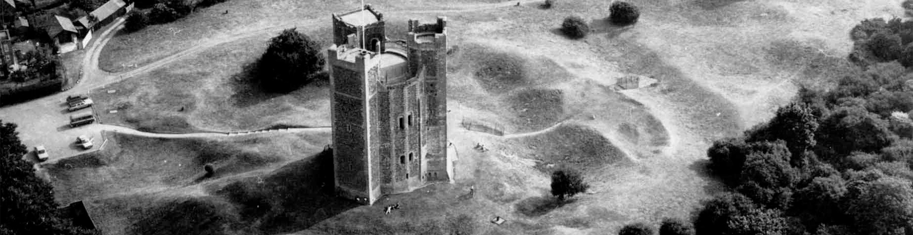 black and white photo of Orford Castle from above