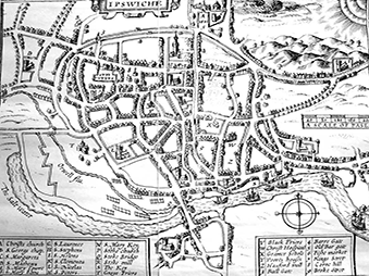 a historic map of Ipswich