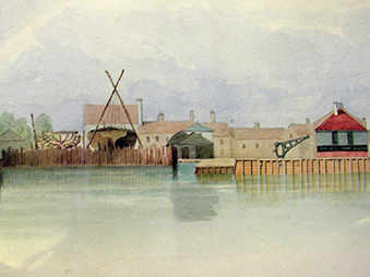 1837 painting of Ipswich docks showing river  structures and ship building