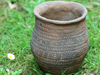 patterned complete pot on grass