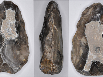 show three faces of an acheulean flint handaxe