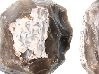 showing two faces of a Levallois flint core
