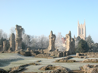abbey gardens on frosty morning