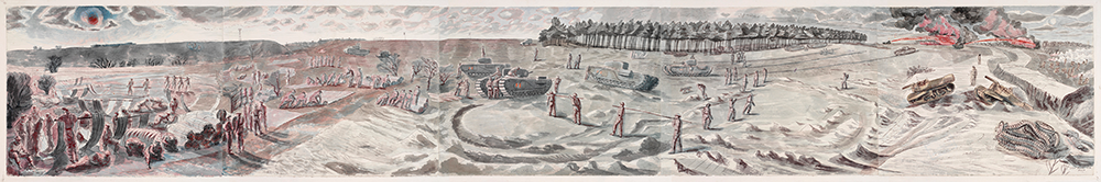 painting of Exercise Kruschen by Edward Bawden