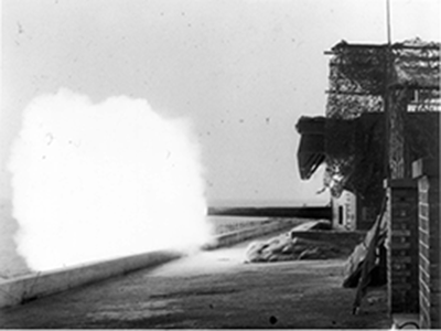 Wartime photograph test firing guns
