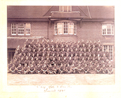 war photo of the Lancashire Regiment standing in rows